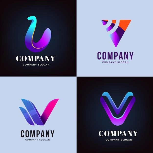 Collezione di design con logo v Vettore gratuito