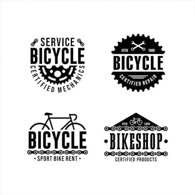 Collezione di design del logo bicycle service Vettore Premium