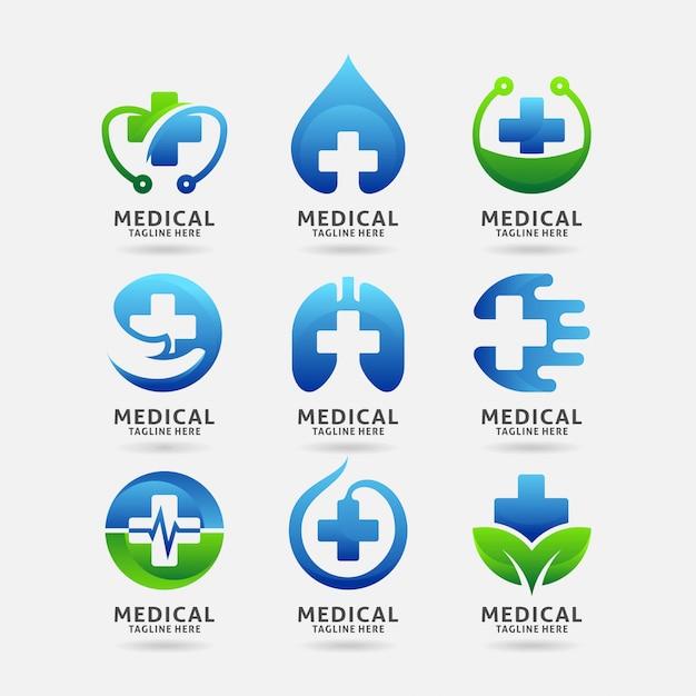 Collezione di design del logo medico Vettore Premium