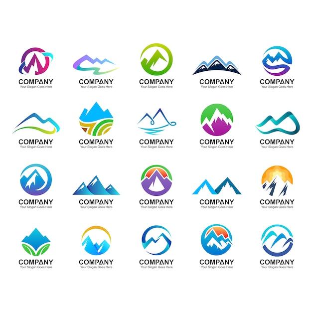 Collezione di design logo di montagna, icone della natura, set di logo montagna astratta Vettore Premium