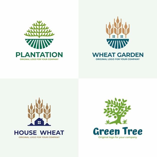 Collezione di design logo natura, campo, agricoltura. Vettore Premium