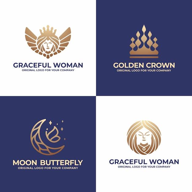 Collezione di design logo regina, corona, luna, donna Vettore Premium