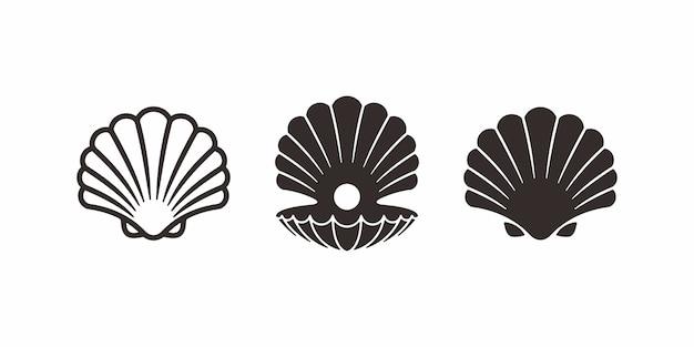 Collezione di design pearl shell logo o icona. Vettore Premium