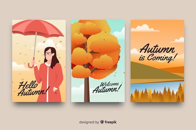 Collezione di design piatto di carte d'autunno Vettore gratuito