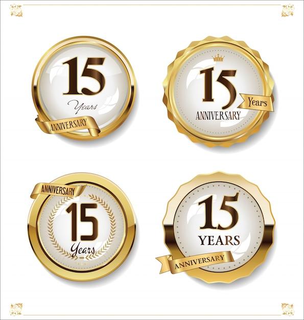 Collezione di design vintage retrò etichette d'oro anniversario Vettore Premium