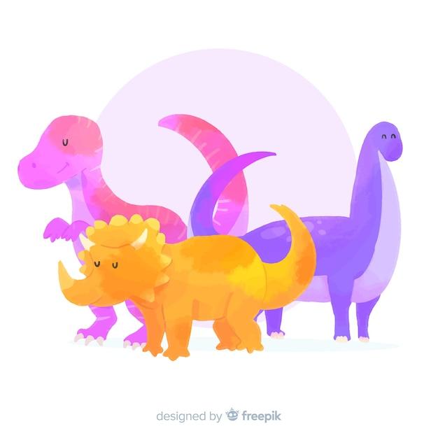 Collezione di dinosauri acquerello Vettore gratuito