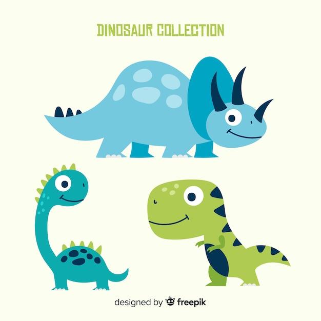 Collezione di dinosauri disegnati a mano Vettore gratuito