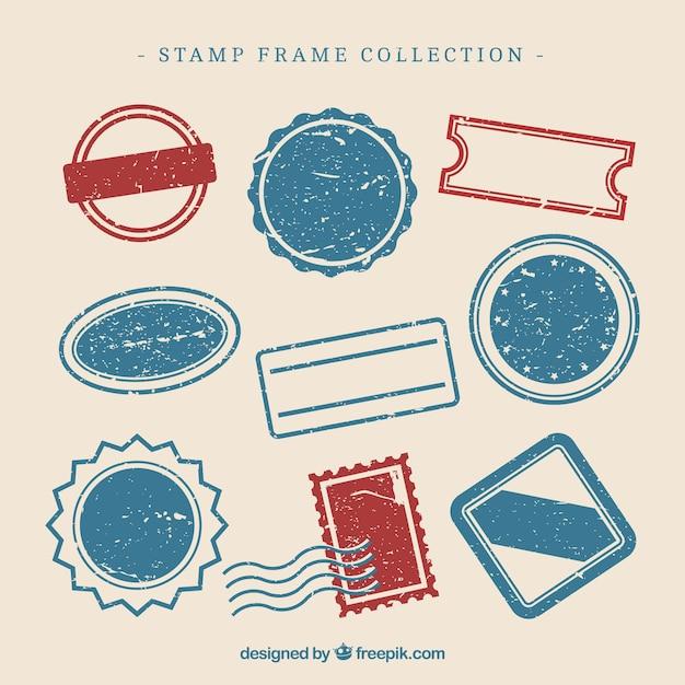 Collezione di disegni di francobolli Vettore gratuito