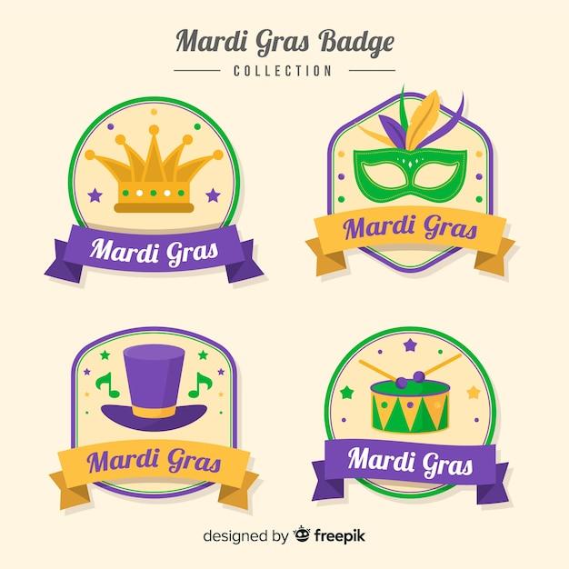 Collezione di distintivi del mardi gras Vettore gratuito