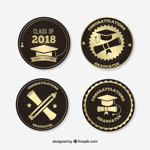 Collezione di distintivi di laurea in stile piatto Vettore gratuito