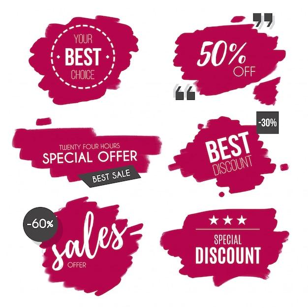 Collezione di distintivi di vendita dell'acquerello Vettore gratuito