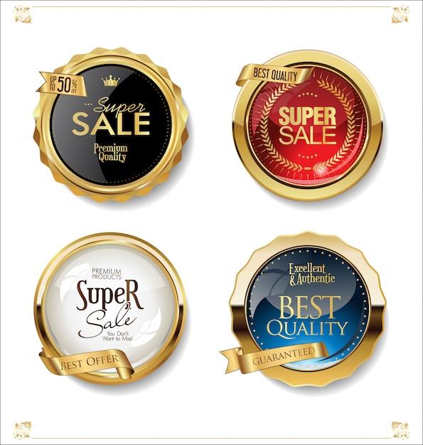 Collezione di distintivi ed etichette di vendita retrò oro e nero Vettore Premium