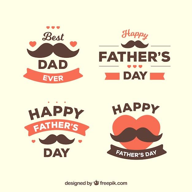 Collezione di distintivi festa del papà con baffi Vettore gratuito