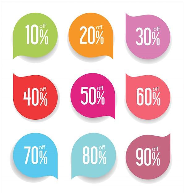 Collezione di distintivi moderni colorati ed etichette Vettore Premium
