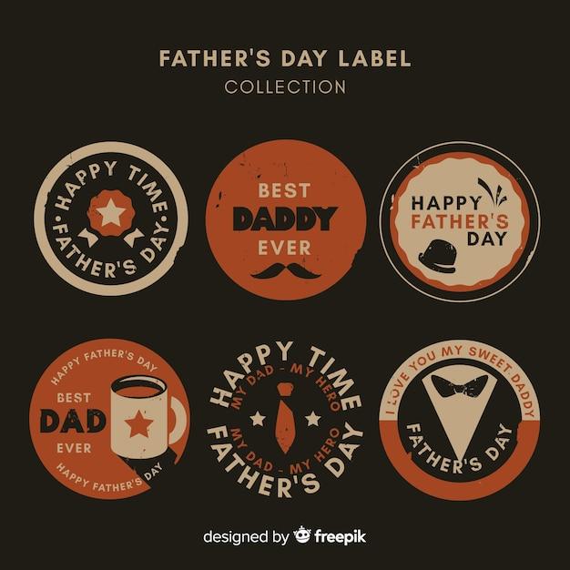 Collezione di distintivi vintage per la festa del papà Vettore gratuito