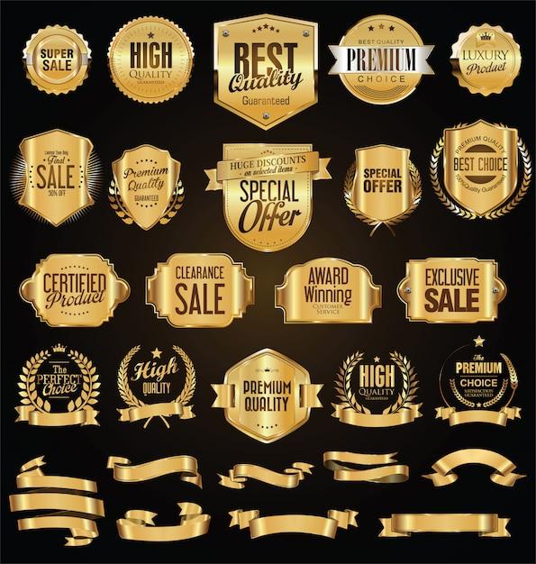 Collezione di distintivi vintage retrò Vettore Premium