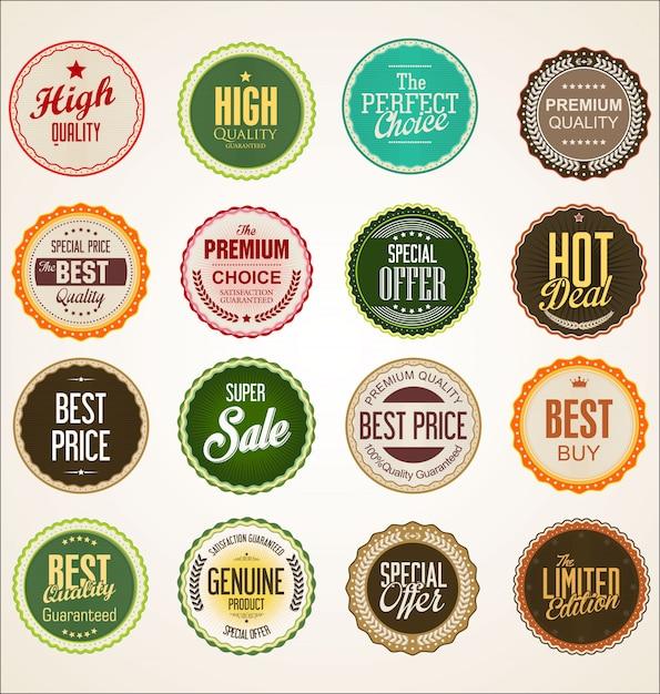 Collezione di distintivo colorato ed etichette design retrò Vettore Premium
