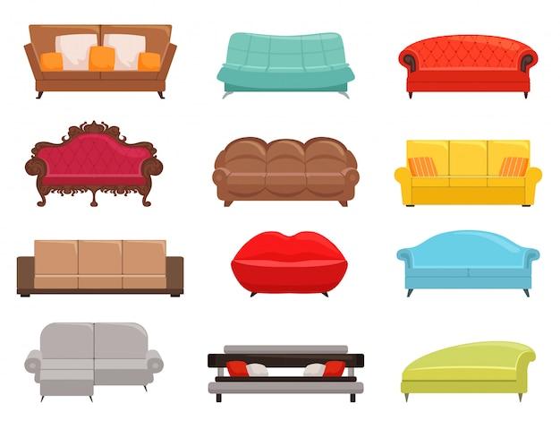 Collezione di divani. l'insieme comodo dello strato e del sofà-letto, la mobilia interna dei sofà di modo, canape moderne della casa vector l'illustrazione colorata Vettore Premium