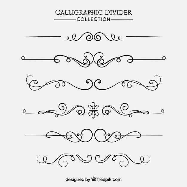 Collezione di divisori in stile calligrafico Vettore gratuito