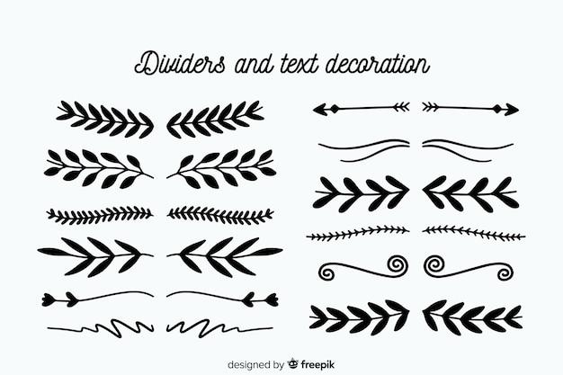 Collezione di divisori ornamentali disegnati a mano Vettore gratuito