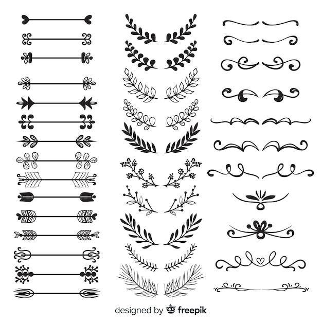 Collezione di divisori ornamento disegnata a mano Vettore gratuito