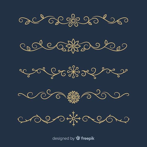 Collezione di divisori per ornamenti Vettore gratuito