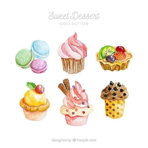 Collezione di dolci dessert in stile acquerello Vettore gratuito
