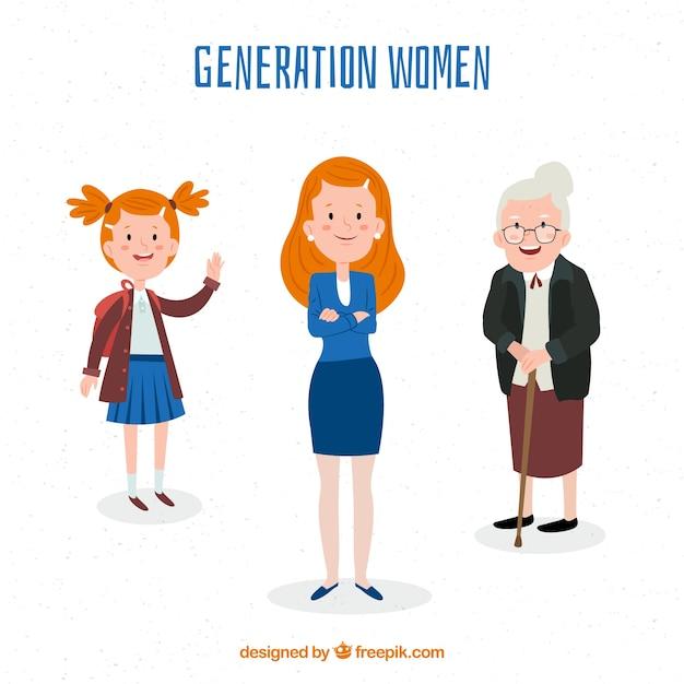 Collezione di donne in epoche diverse Vettore gratuito