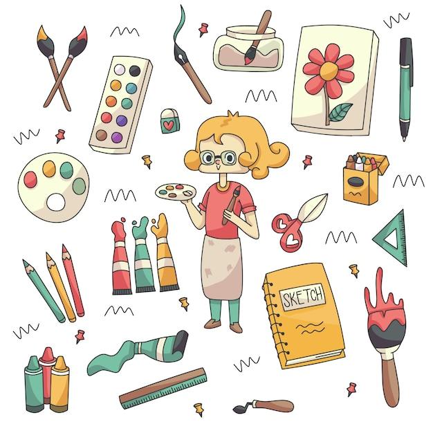 Collezione di doodle di materiali artistici e artisti carini Vettore Premium