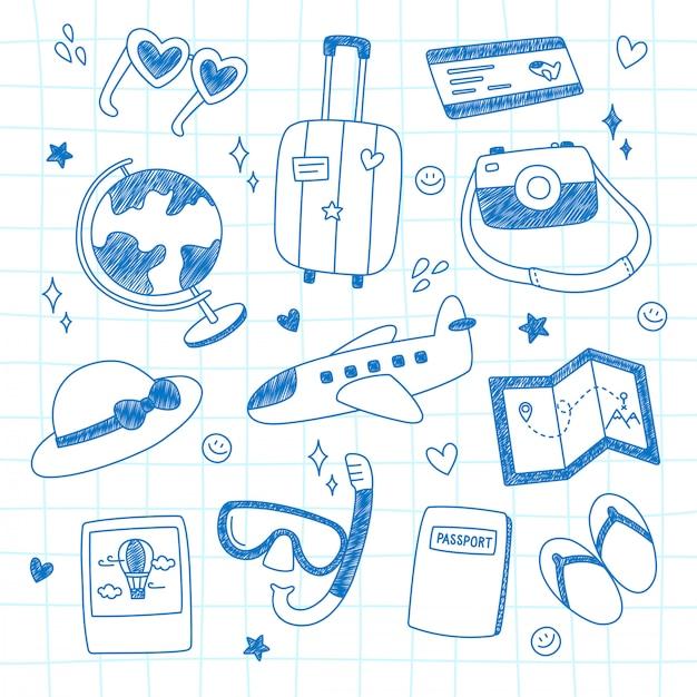 Collezione di doodle di viaggio. Vettore Premium