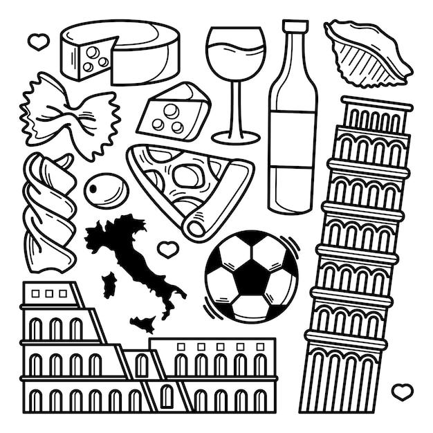 Collezione di doodle italia Vettore Premium