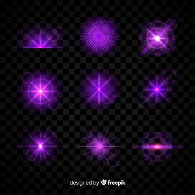 Collezione di effetti di luce viola su sfondo trasparente Vettore gratuito