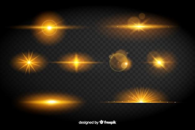 Collezione di effetti di luci gialle Vettore gratuito