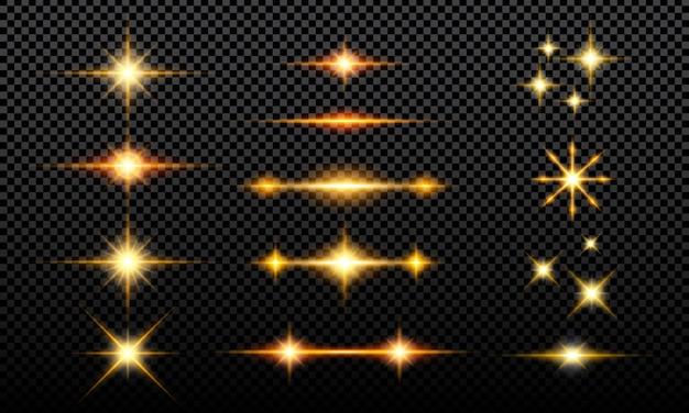 Collezione di effetti glitter luminosi Vettore Premium
