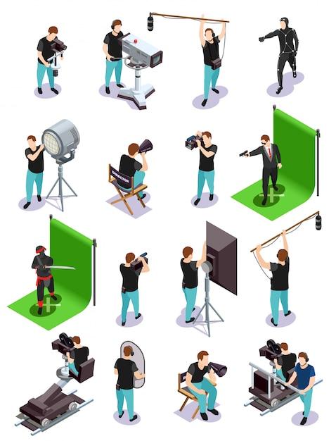 Collezione di elementi cinematografici isometrici Vettore gratuito