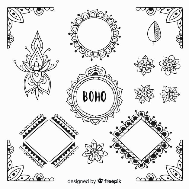 Collezione di elementi decorativi boho disegnati a mano Vettore gratuito