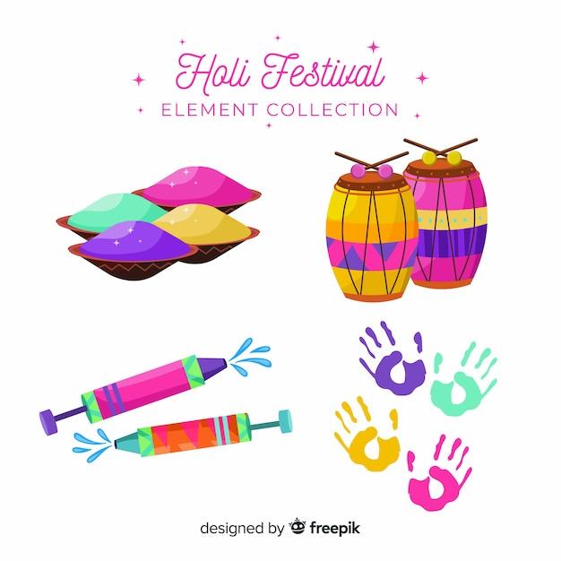 Collezione di elementi del festival di holi Vettore gratuito