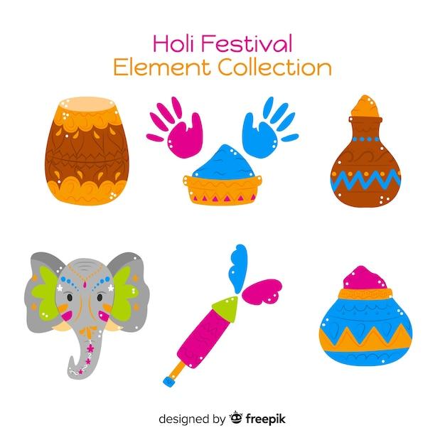 Collezione di elementi del festival holi disegnati a mano Vettore gratuito