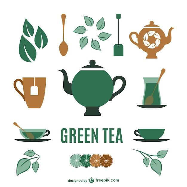 Collezione di elementi del tè Vettore gratuito