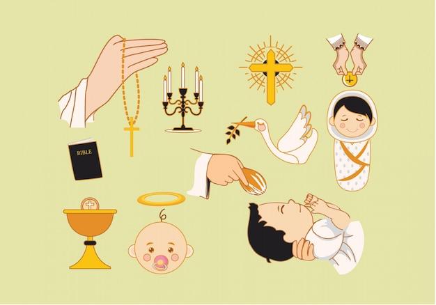 Collezione di elementi di battesimo Vettore gratuito