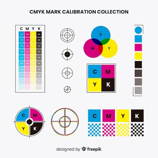 Collezione di elementi di calibrazione cmyk Vettore gratuito