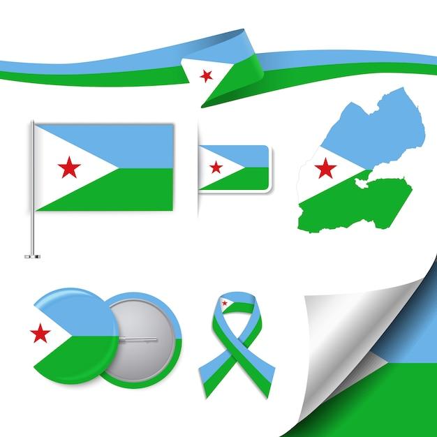 Collezione di elementi di cancelleria con la bandiera del design djibouti Vettore gratuito