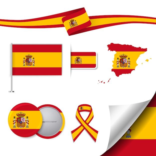 Collezione di elementi di cancelleria con la bandiera del design spagnolo Vettore gratuito