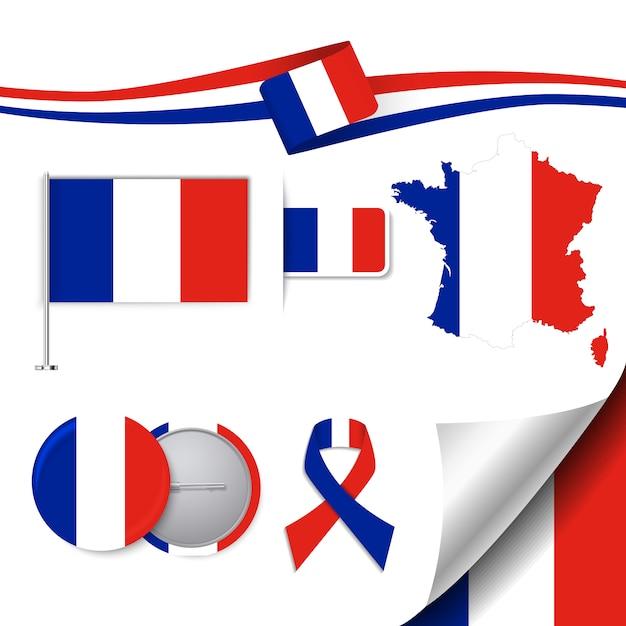 Collezione di elementi di cancelleria con la bandiera della francia design Vettore gratuito