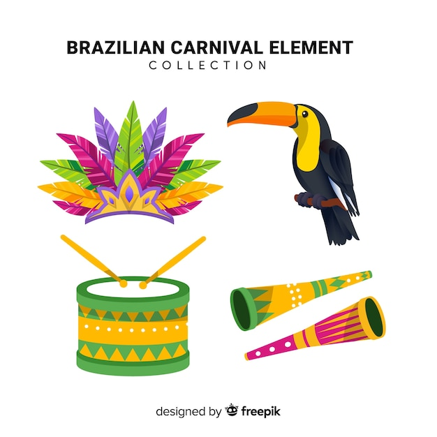 Collezione di elementi di carnevale brasiliano Vettore gratuito