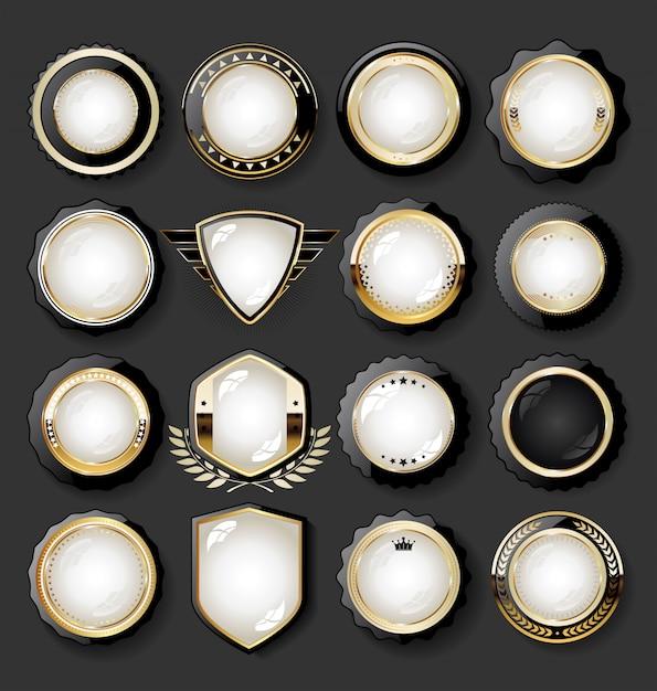 Collezione di elementi di design dorato di lusso badge etichette ed allori Vettore Premium