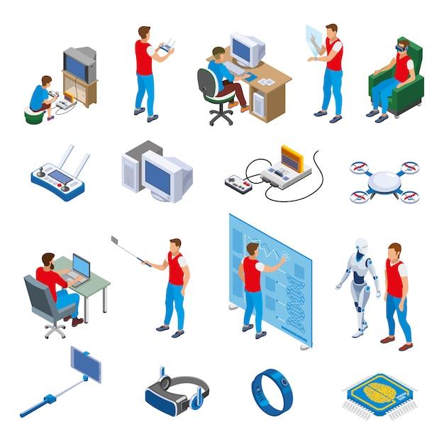 Collezione di elementi di evoluzione gadget digitali Vettore gratuito