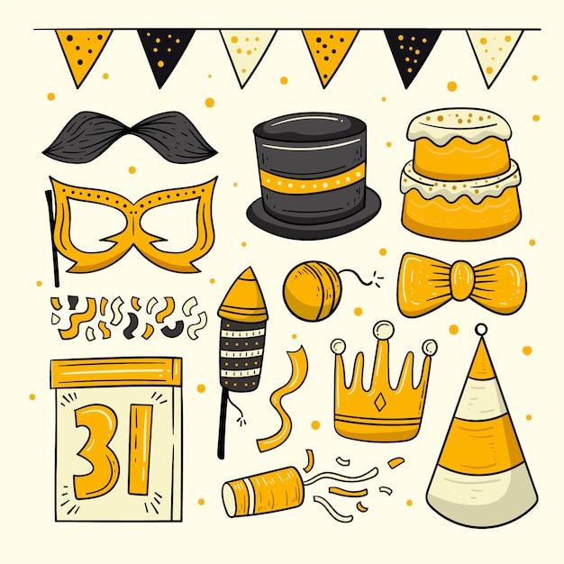 Collezione di elementi di festa di capodanno disegnati a mano Vettore gratuito