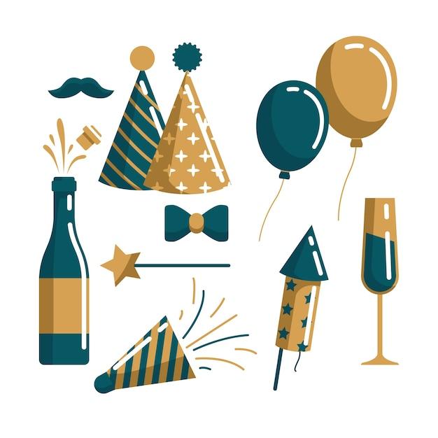 Collezione di elementi di festa di capodanno in design piatto Vettore gratuito