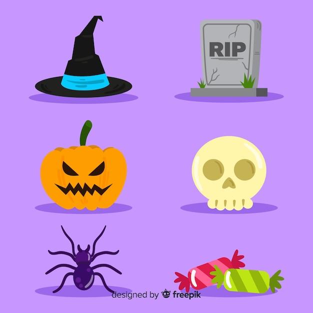 Collezione di elementi di halloween design piatto Vettore gratuito